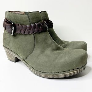 Dansko olive green ankle booties with leather belt